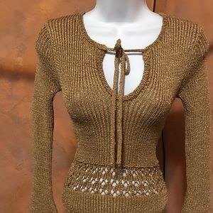 Gold knit sweater.Eligible for; 5 for $25 bundle,